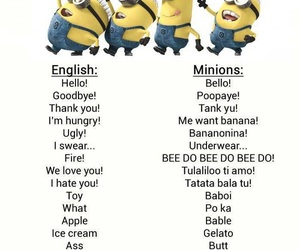 minions, language, and banana image