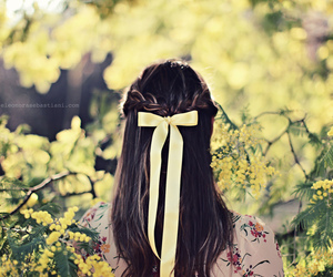bow, flowers, and girl image