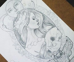 tattoo, drawing, and girl image