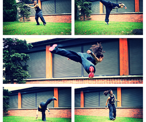 butterfly, girl, and parkour image