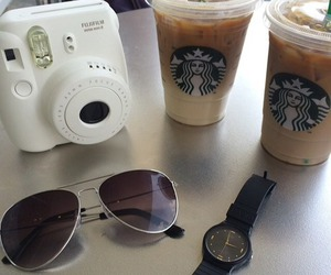 camera, starbucks, and sunglasses image