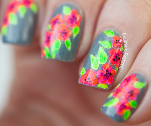 fashion, flowers, and nail art image