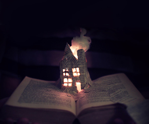 book, fire, and house image