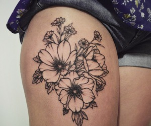 daisy, flowers, and inked image
