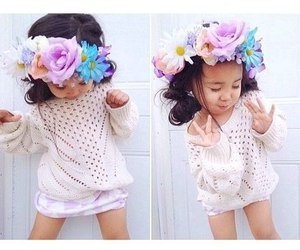 baby, style, and flowers image