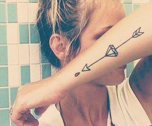 tattoo, arrow, and diamond image