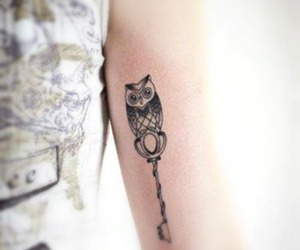 tattoo, owl, and key image