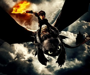 fire, toothless, and hiccup image
