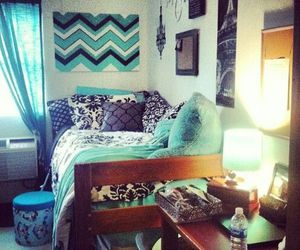 bedroom, blue, and chevron image