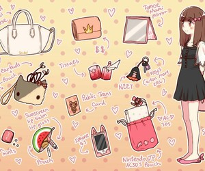 anime, what's in your bag?, and cute image