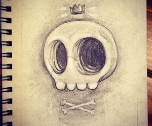 skull, drawing, and bones image
