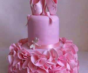 cake, pink, and ballet image