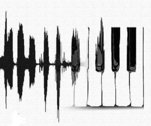 monochrome, music, and piano image