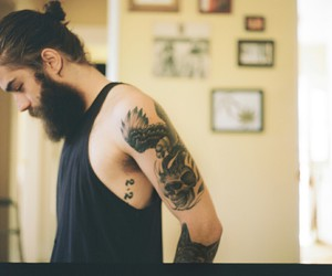beard, tattoo, and boy image