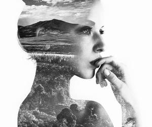 girl, black and white, and art image