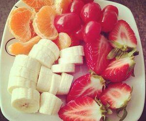 fruit, banana, and strawberry image