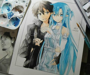 anime, sword art online, and hiddrawing image