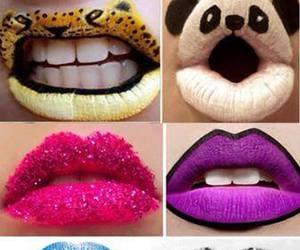 lips, panda, and animal image
