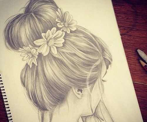 bun, daisies, and drawing image