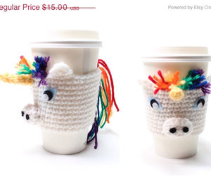 coffee sleeve, crochet, and etsy image