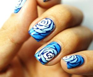 nails, blue, and rose image