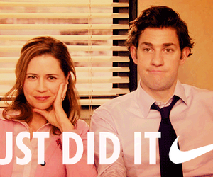 funny, jim and pam, and the office image
