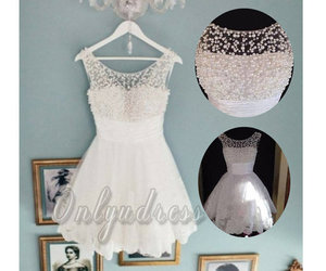 lace, peal, and white dress image