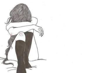 girl, sad, and drawing image