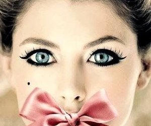bow, eyes, and pink image