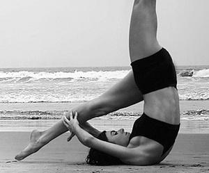 yoga, black and white, and beach image