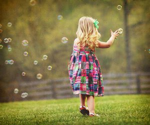 kid, bubbles, and nature image