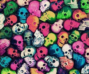 skull, colors, and wallpaper image