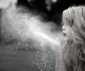 girl, black and white, and magic image