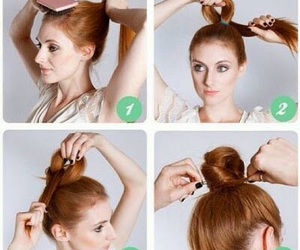 hairstyle, hair, and bun image