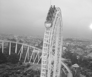 Roller Coaster, fun, and black and white image