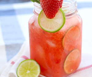 strawberry, agua fresca, and lime image