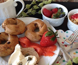 bagels, food, and strawberry image