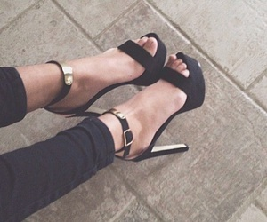 fashion, gold, and high heels image