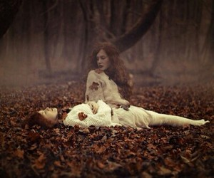 girl, forest, and dead image