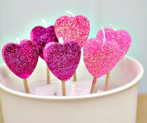 pink, heart, and candle image