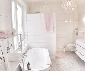 bathroom, pink, and white image
