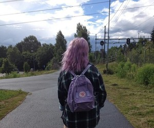 dyed hair, pink hair, and pale girl image
