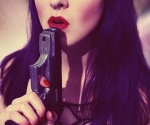 gun and red lips image