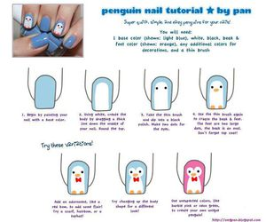 nails, penguin, and cute image