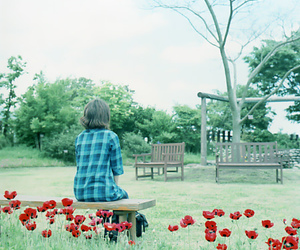 flower, girl, and park image