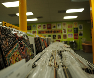 music, record store, and records image