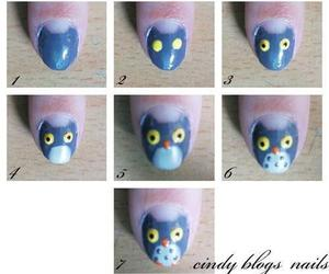 owl, nails, and tutorial image
