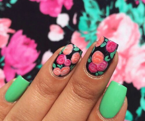 nails, green, and floral image