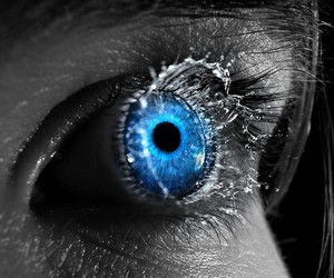 eye, blue, and water image