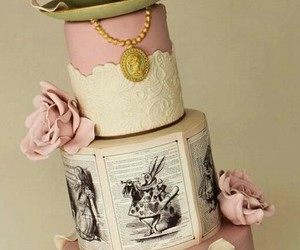 alice in wonderland, cake, and chic image